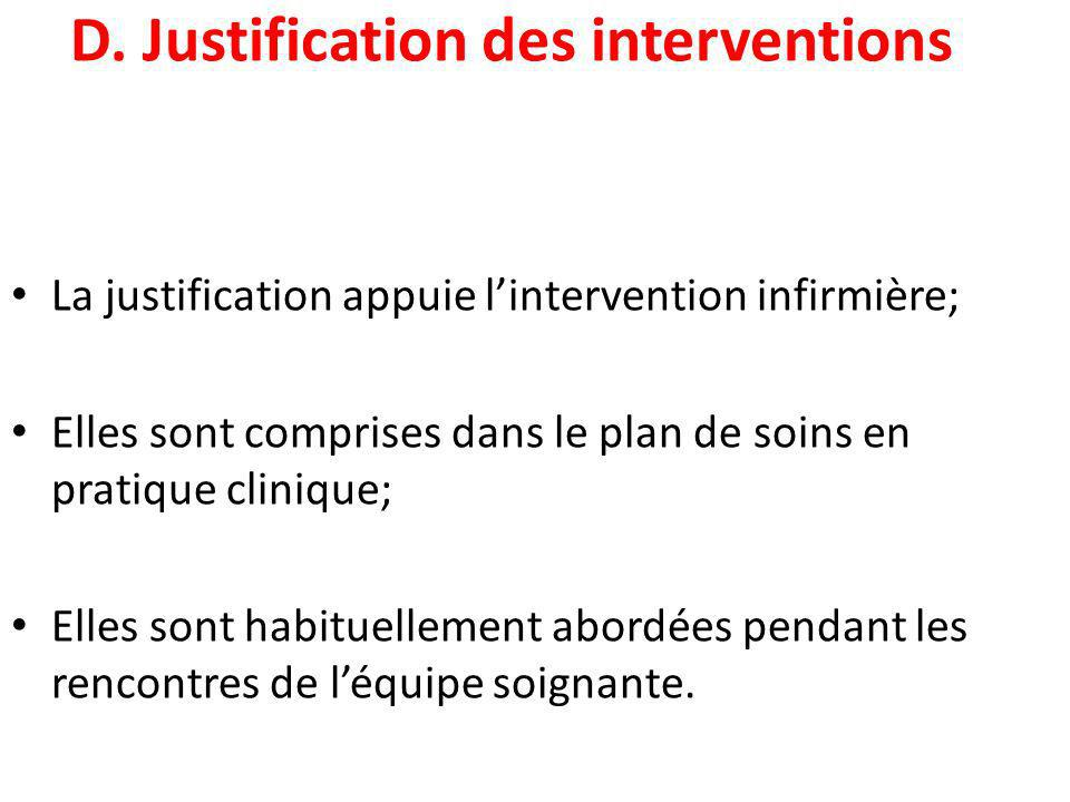 D. Justification des interventions