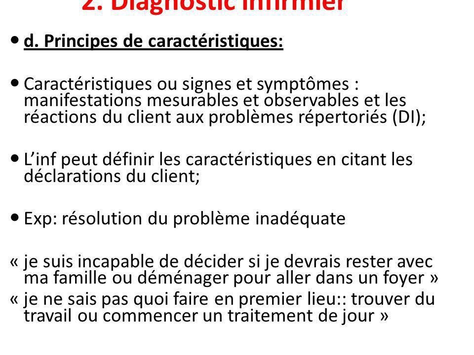 2. Diagnostic infirmier d. Principes de caractéristiques: