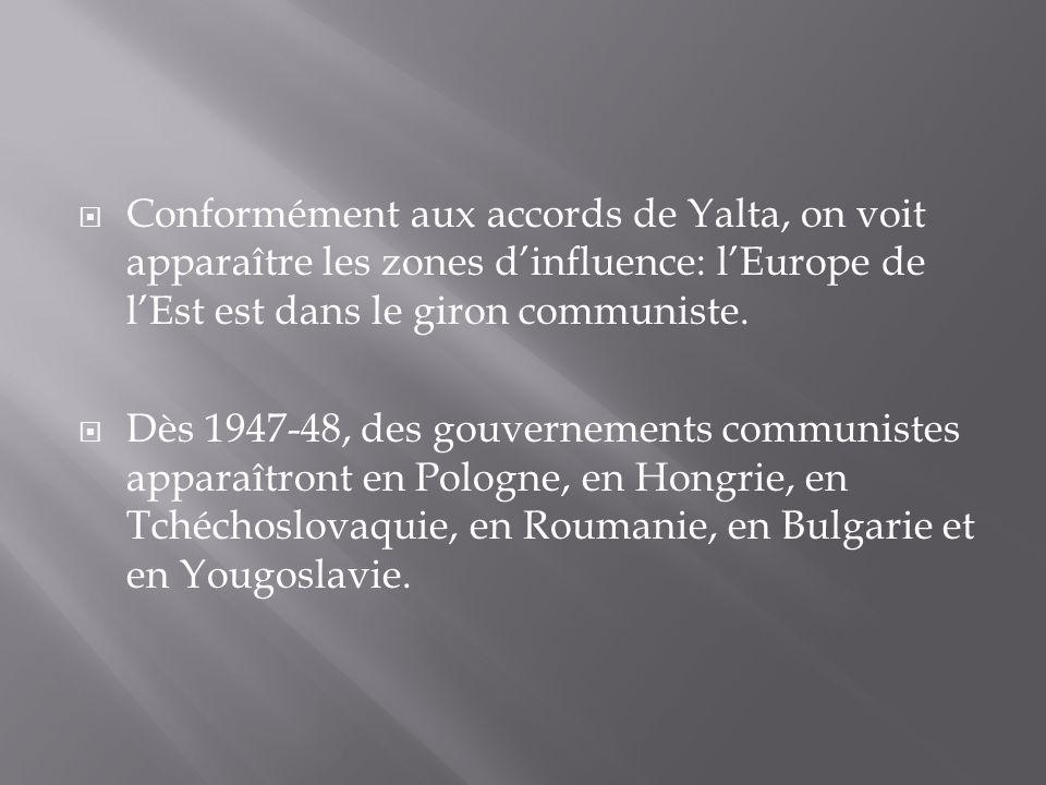 Conformément aux accords de Yalta, on voit apparaître les zones d'influence: l'Europe de l'Est est dans le giron communiste.