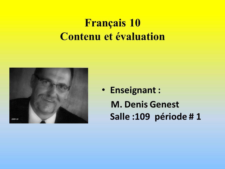 Français 10 Contenu et évaluation
