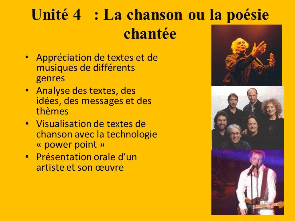 Unité 4 : La chanson ou la poésie chantée