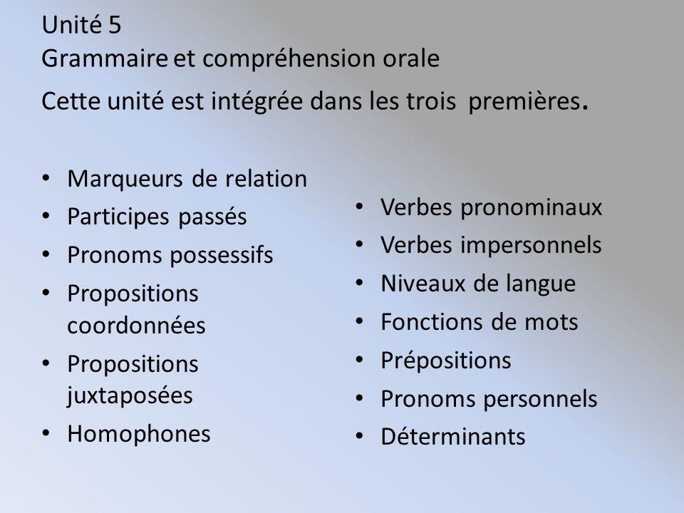 Unité 5 Grammaire et compréhension orale Cette unité est intégrée dans les trois premières.