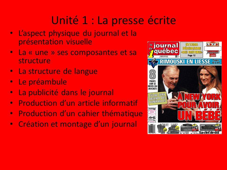Unité 1 : La presse écrite