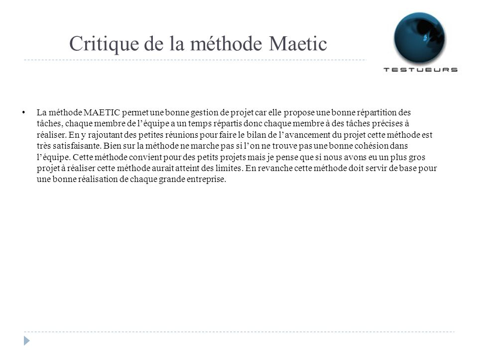 Critique de la méthode Maetic