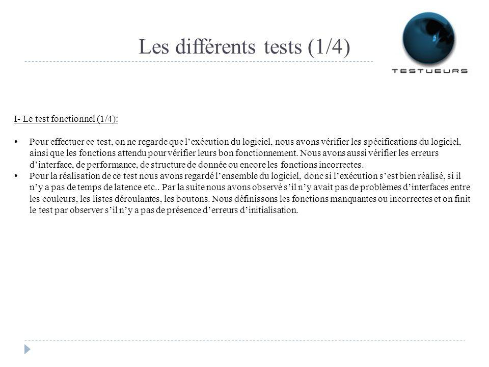 Les différents tests (1/4)