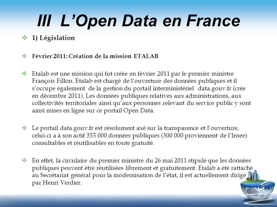 III L'Open Data en France