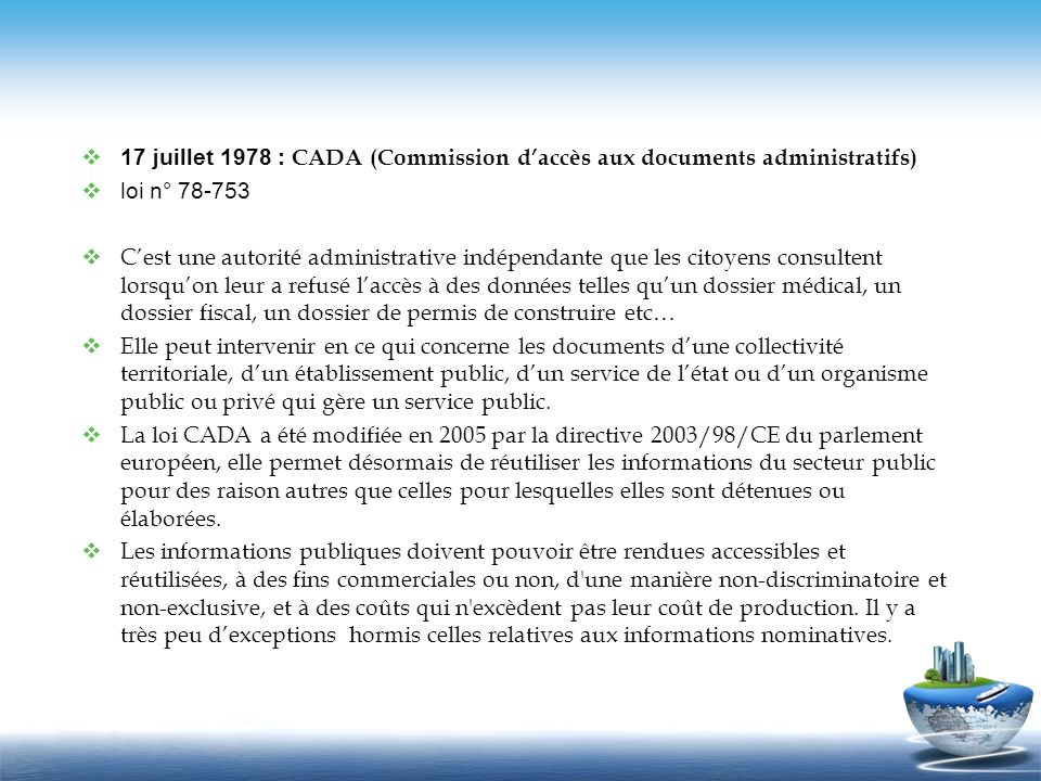 17 juillet 1978 : CADA (Commission d'accès aux documents administratifs)