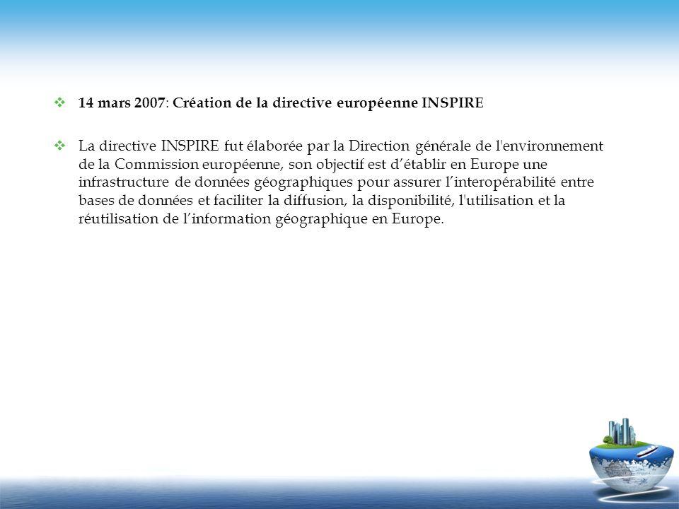 14 mars 2007: Création de la directive européenne INSPIRE