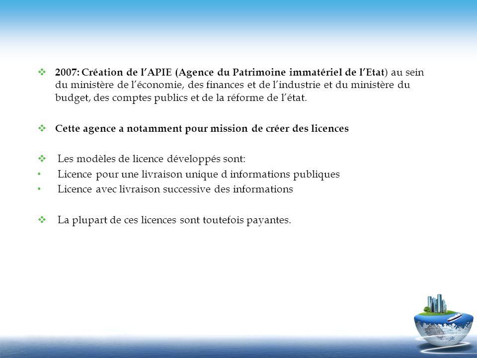 2007: Création de l'APIE (Agence du Patrimoine immatériel de l'Etat) au sein du ministère de l'économie, des finances et de l'industrie et du ministère du budget, des comptes publics et de la réforme de l'état.