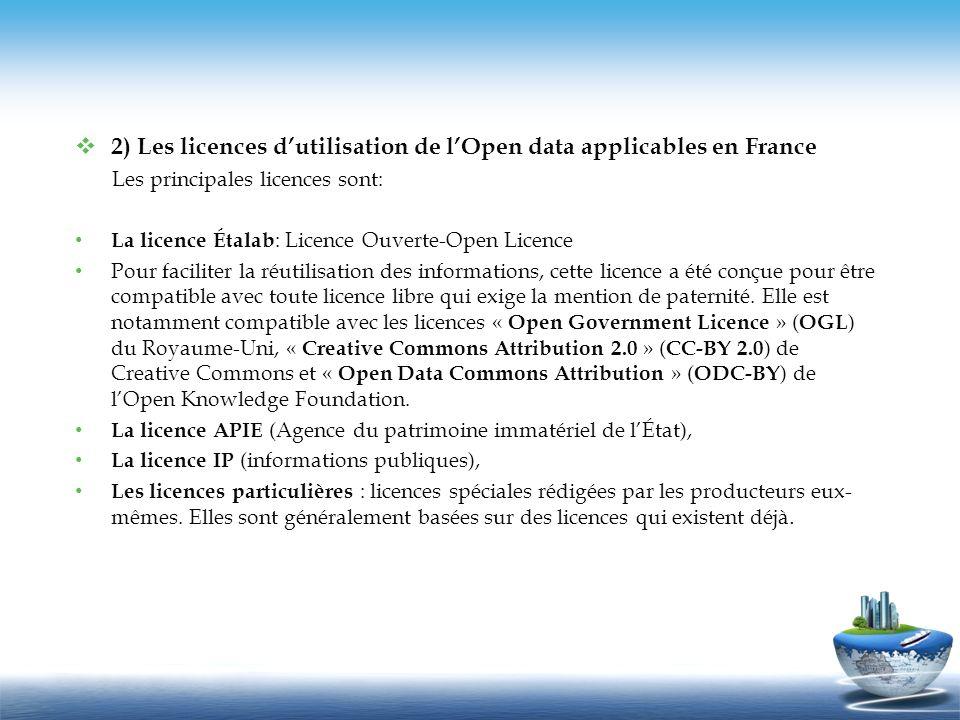 2) Les licences d'utilisation de l'Open data applicables en France