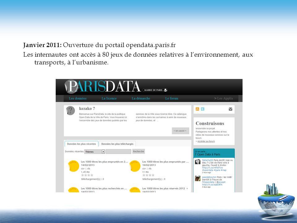 Janvier 2011: Ouverture du portail opendata.paris.fr