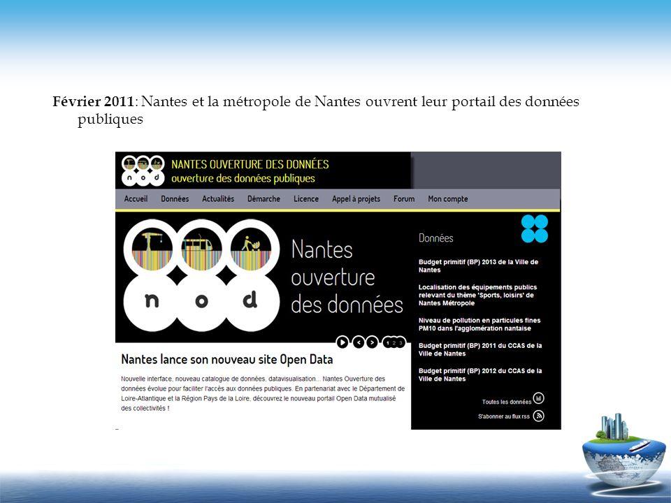 Février 2011: Nantes et la métropole de Nantes ouvrent leur portail des données publiques