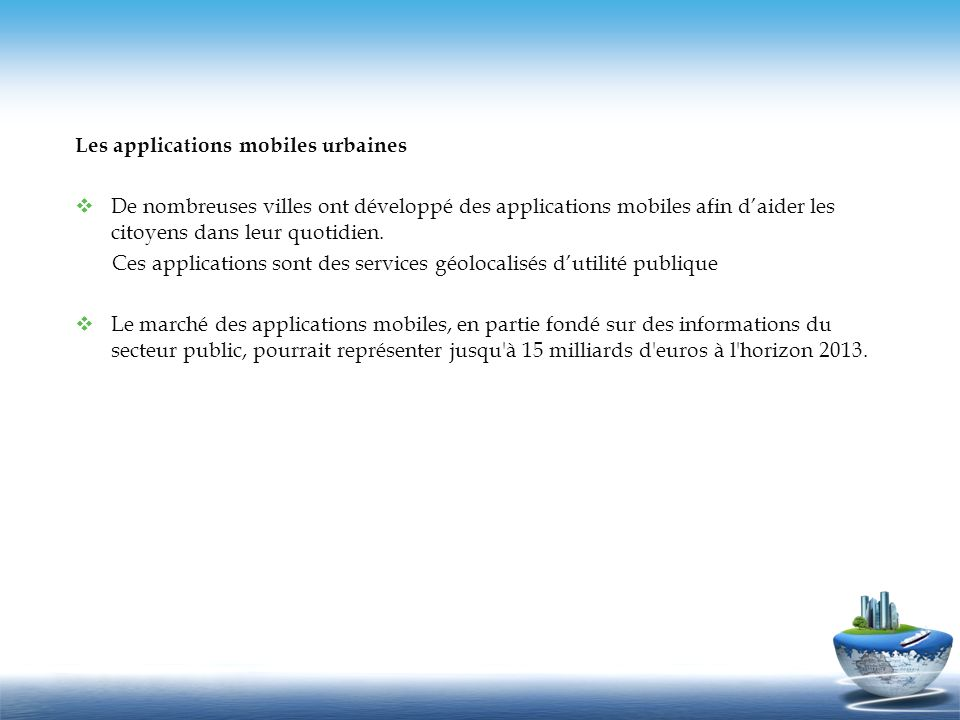 Les applications mobiles urbaines
