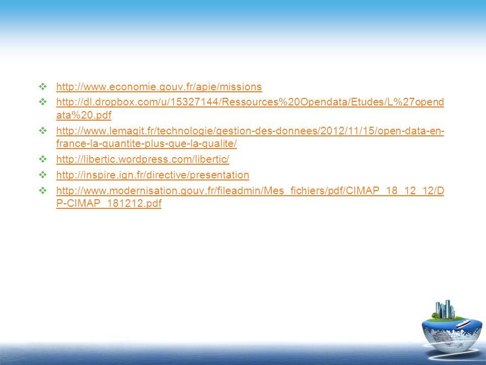 http://www.economie.gouv.fr/apie/missions http://dl.dropbox.com/u/15327144/Ressources%20Opendata/Etudes/L%27opendata%20.pdf.