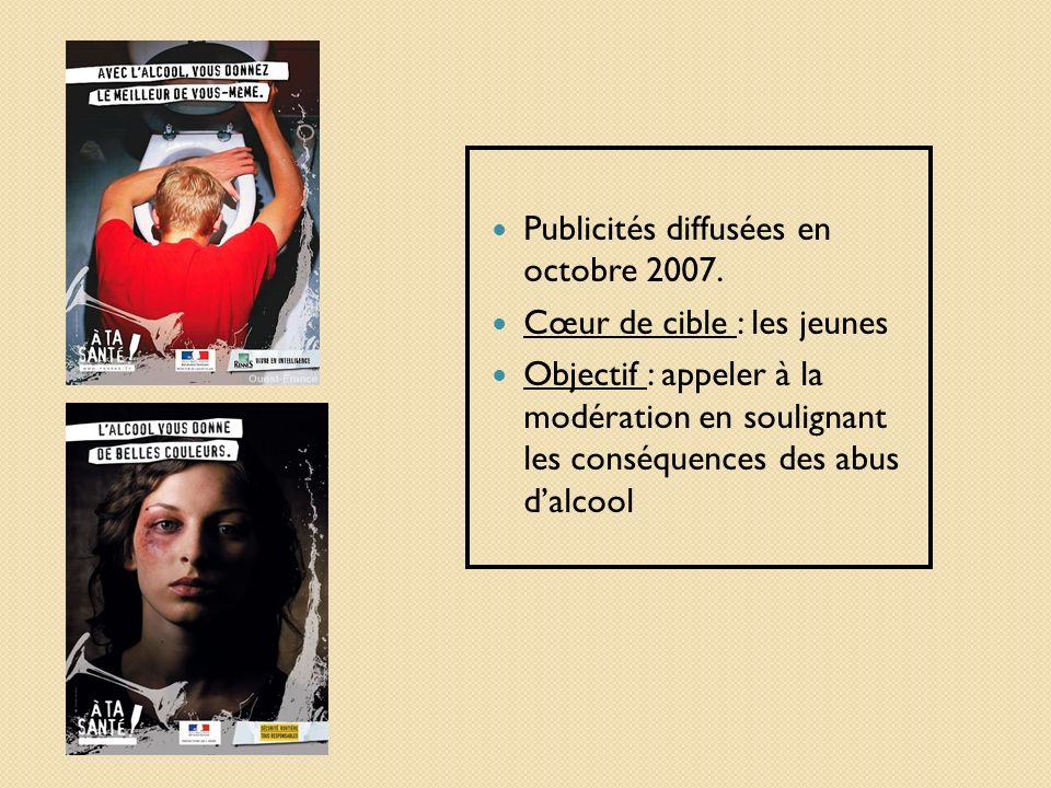 Publicités diffusées en octobre 2007.