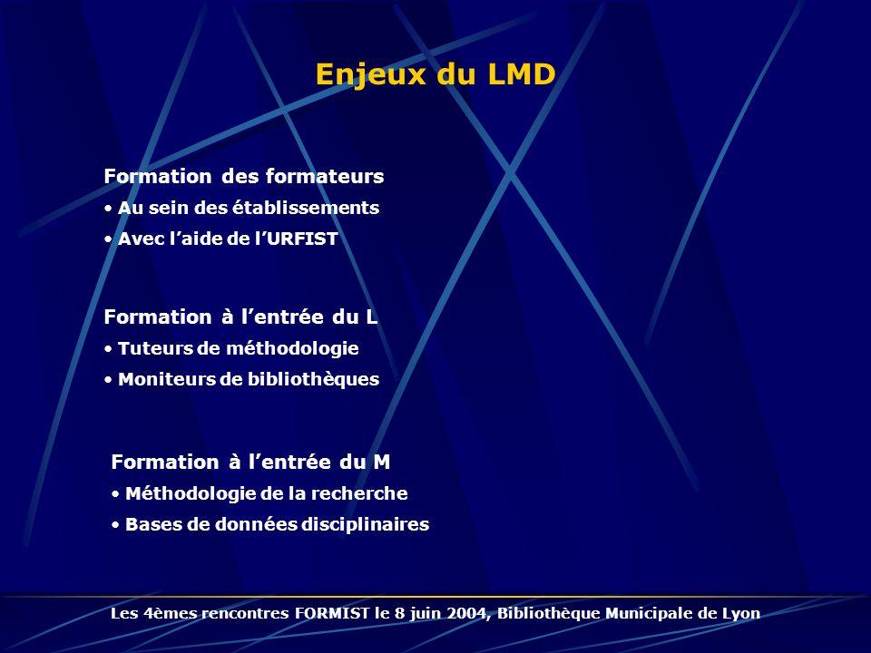 Enjeux du LMD Formation des formateurs Formation à l'entrée du L