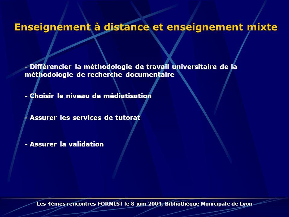 Enseignement à distance et enseignement mixte