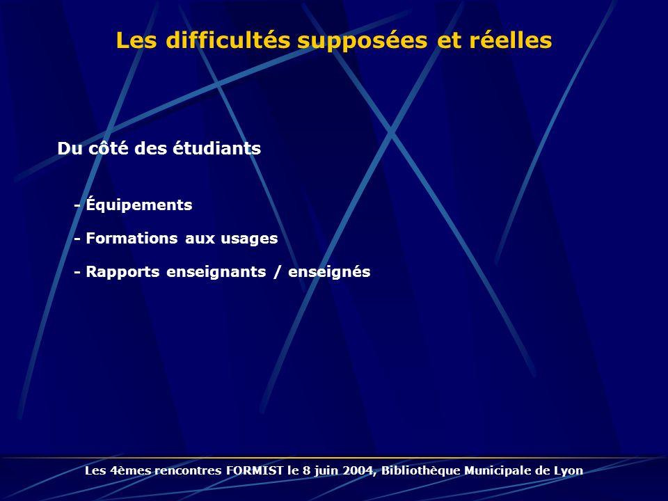 Les difficultés supposées et réelles