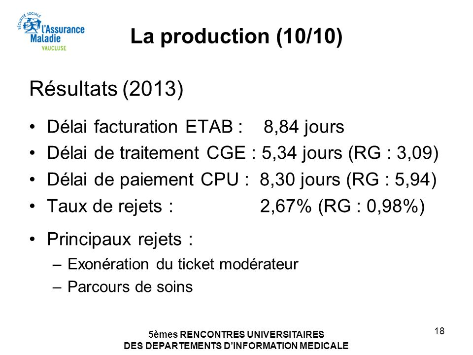La production (10/10) Résultats (2013)