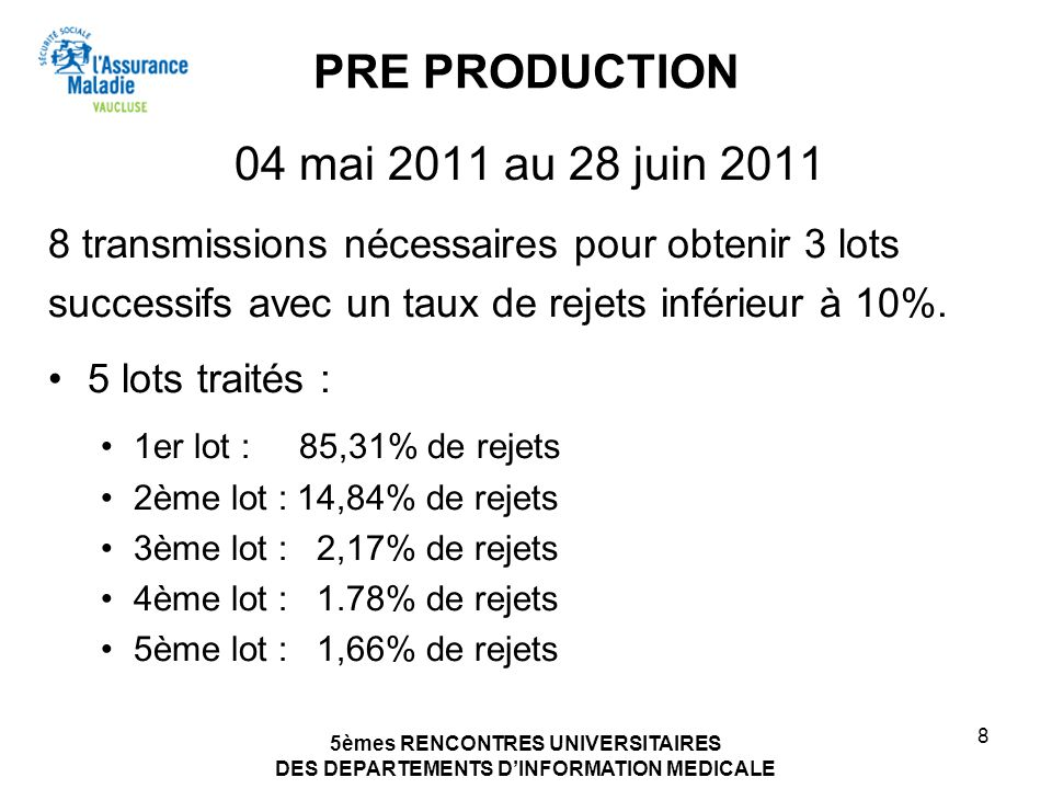 PRE PRODUCTION 04 mai 2011 au 28 juin 2011
