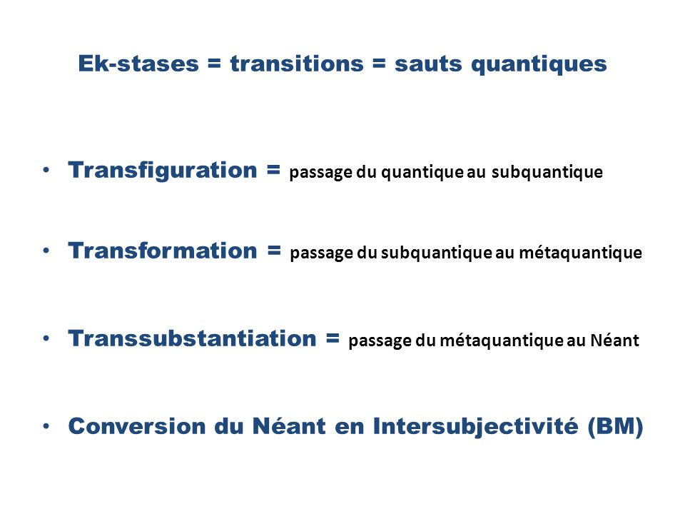 Ek-stases = transitions = sauts quantiques