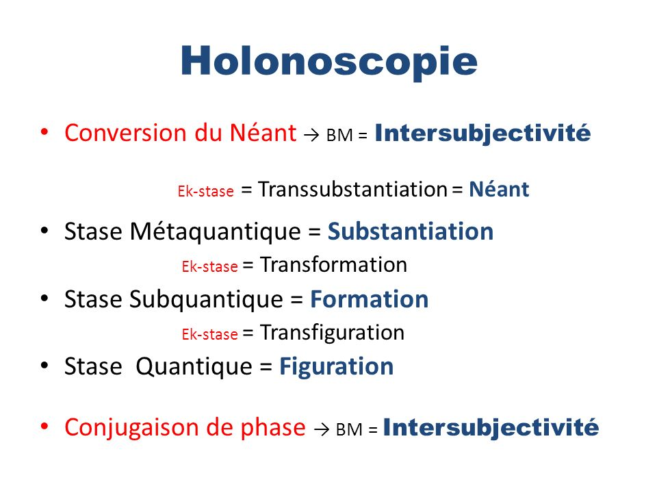 Holonoscopie Conversion du Néant → BM = Intersubjectivité