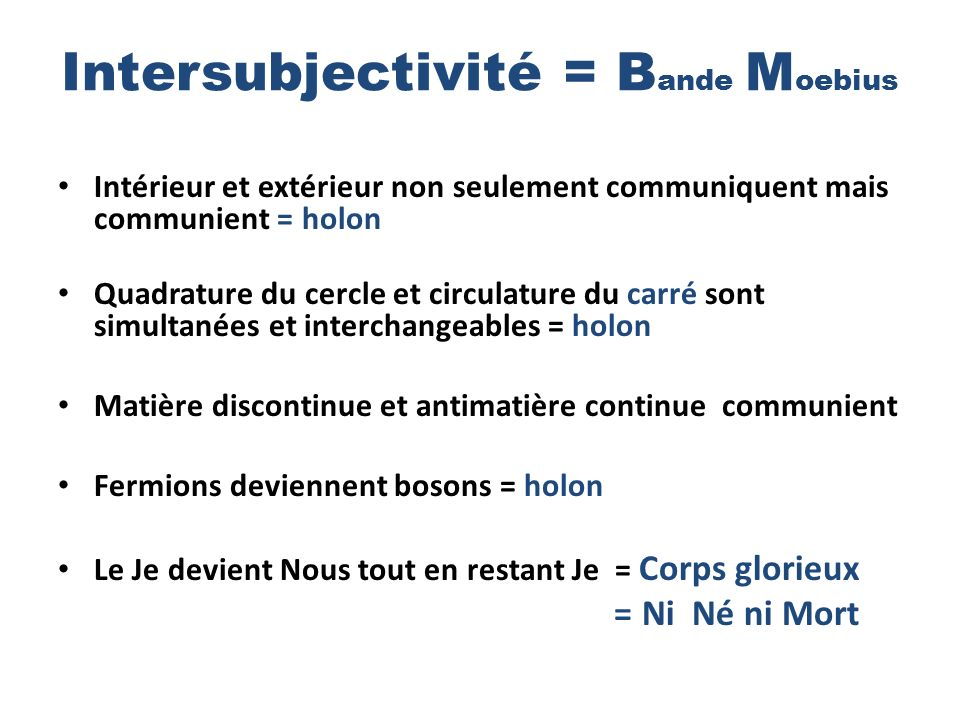 Intersubjectivité = Bande Moebius