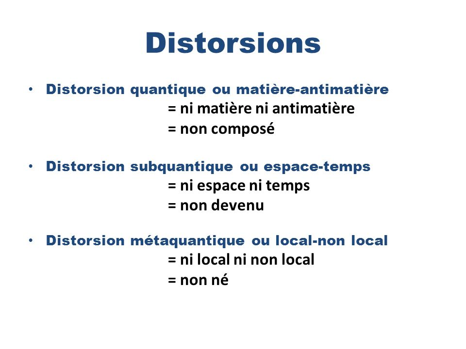 Distorsions = ni matière ni antimatière = non composé