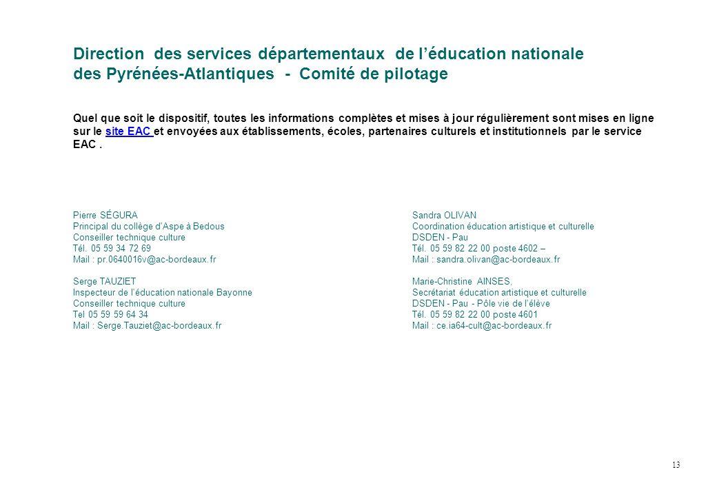 Direction des services départementaux de l'éducation nationale des Pyrénées-Atlantiques - Comité de pilotage