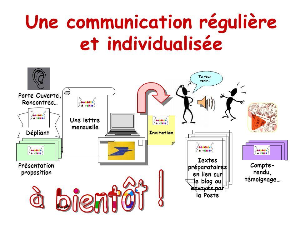 Une communication régulière et individualisée à bientôt !