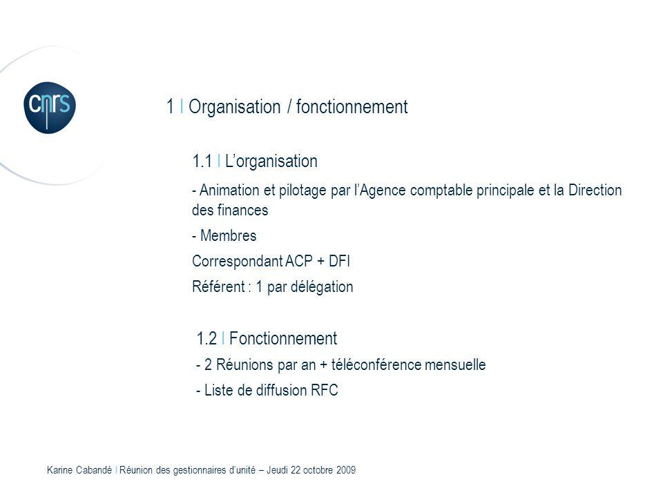 1 I Organisation / fonctionnement