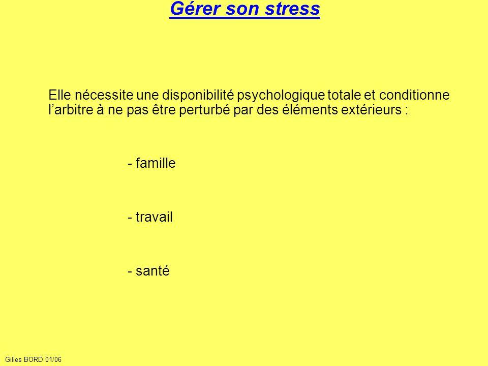 Gérer son stress Elle nécessite une disponibilité psychologique totale et conditionne l'arbitre à ne pas être perturbé par des éléments extérieurs :