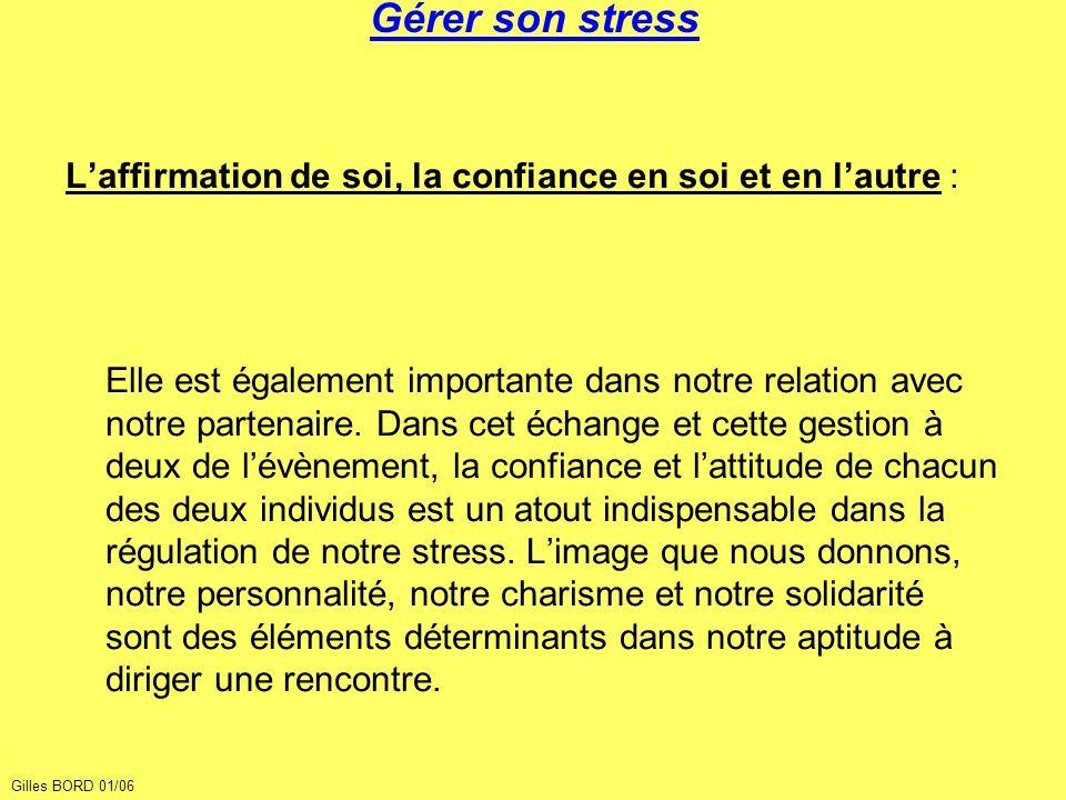 Gérer son stress L'affirmation de soi, la confiance en soi et en l'autre :