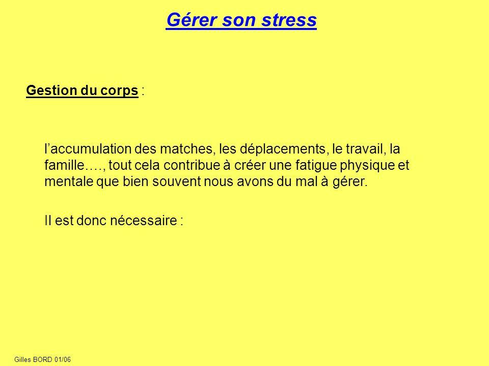 Gérer son stress Gestion du corps :