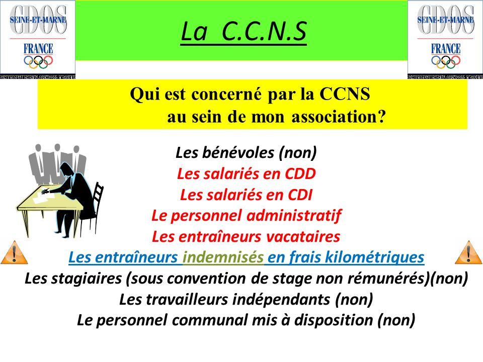 La C.C.N.S Qui est concerné par la CCNS au sein de mon association