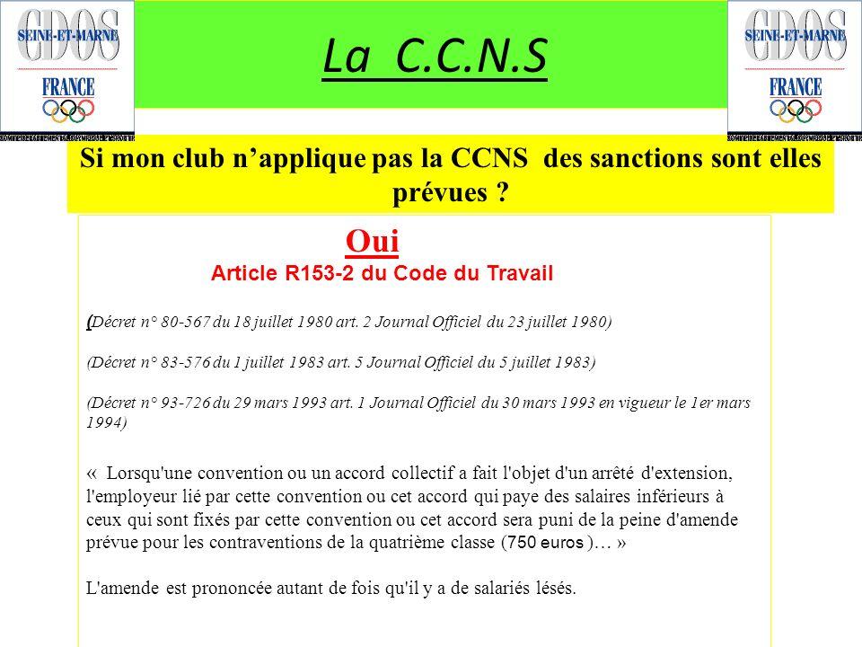 Si mon club n'applique pas la CCNS des sanctions sont elles prévues