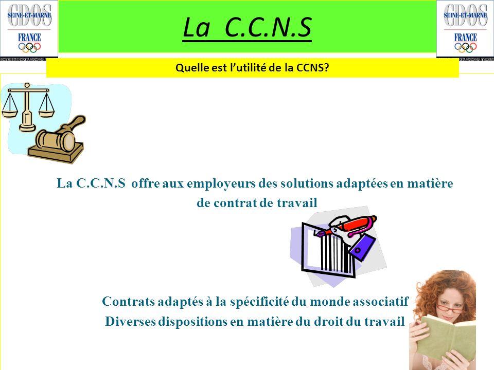 La C.C.N.S Quelle est l'utilité de la CCNS La C.C.N.S offre aux employeurs des solutions adaptées en matière.