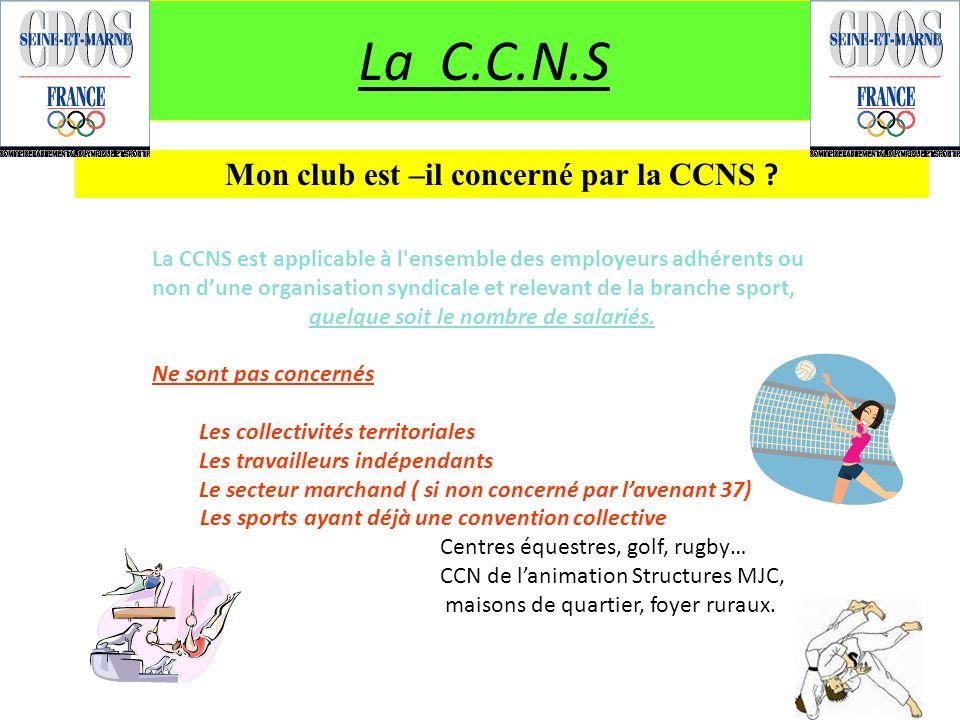 La C.C.N.S Mon club est –il concerné par la CCNS