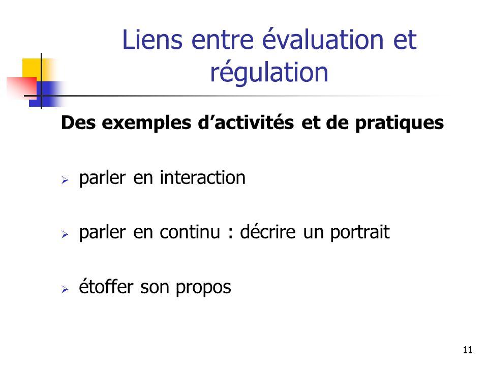Liens entre évaluation et régulation