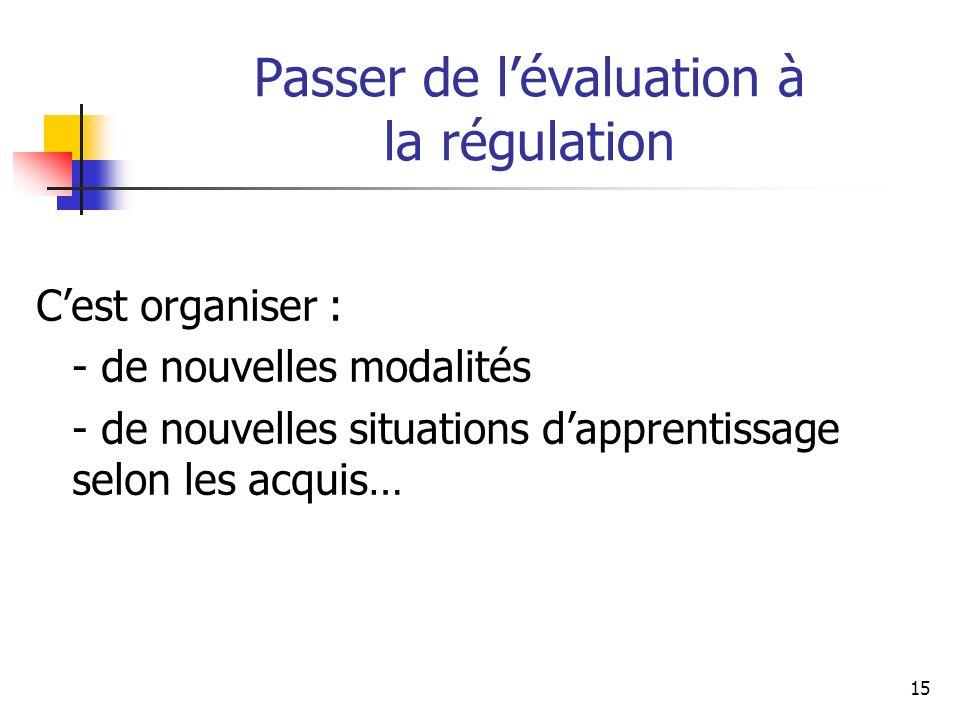 Passer de l'évaluation à la régulation