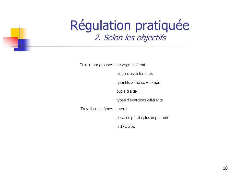 Régulation pratiquée 2. Selon les objectifs