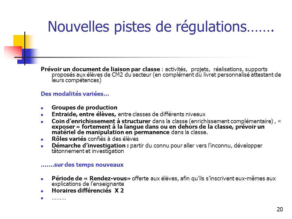 Nouvelles pistes de régulations…….