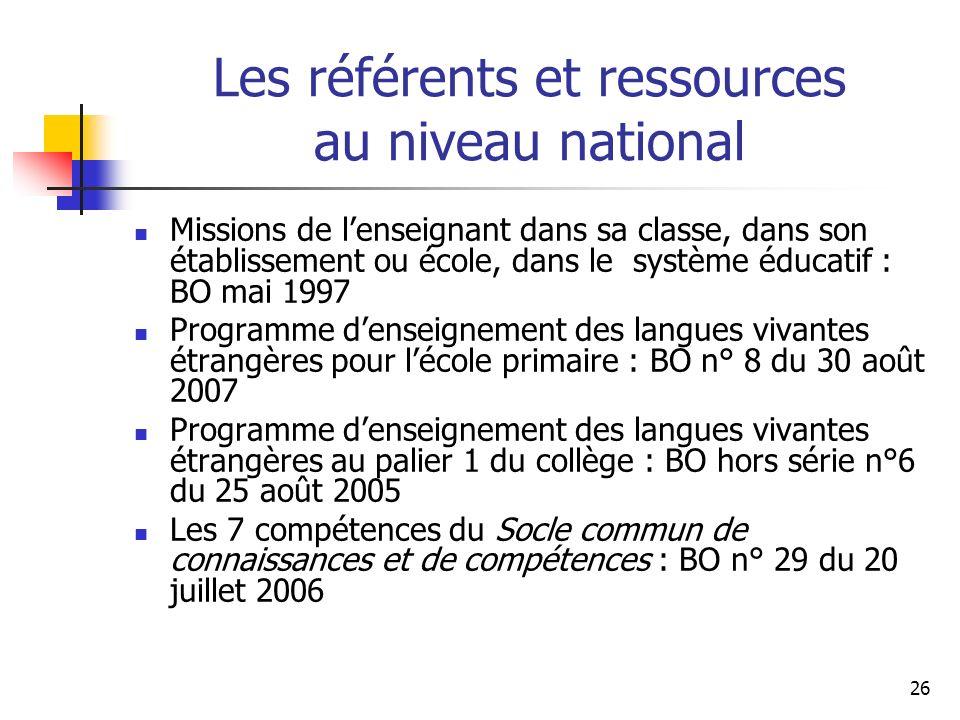 Les référents et ressources au niveau national