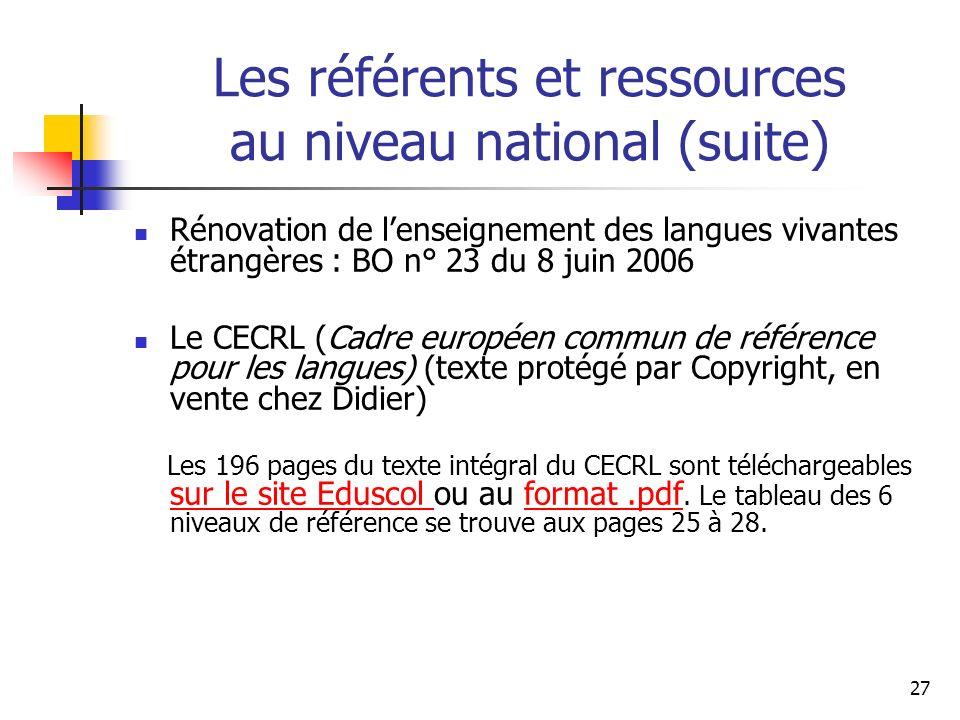 Les référents et ressources au niveau national (suite)