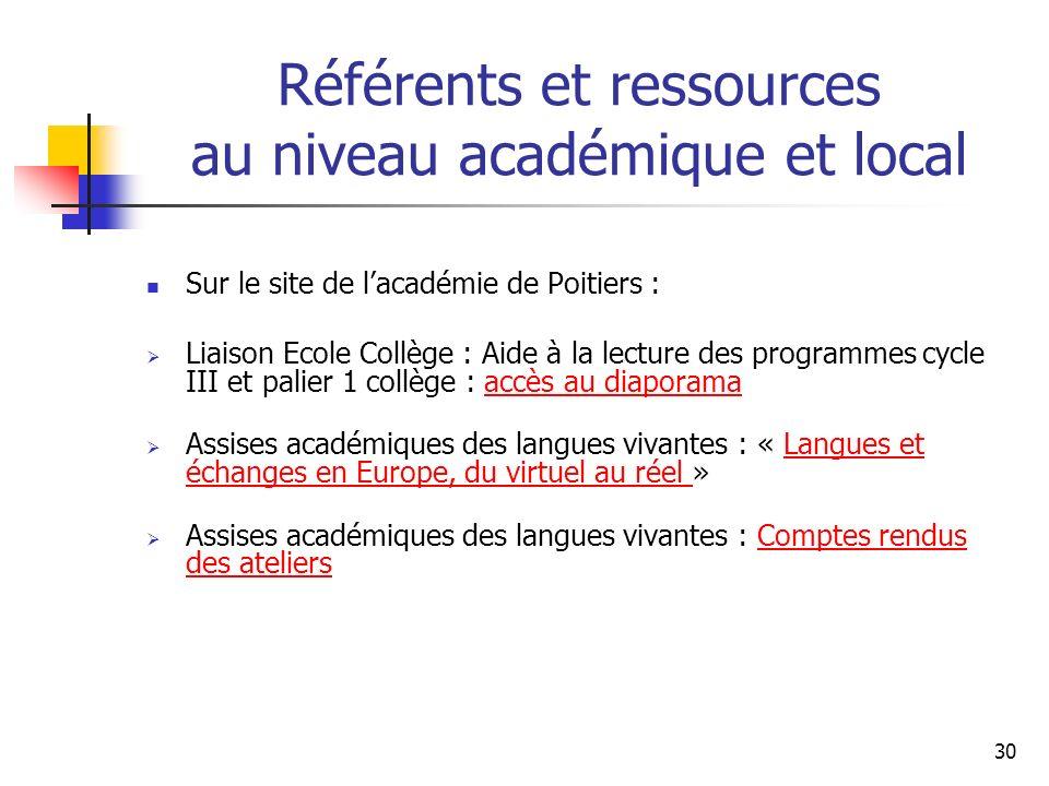 Référents et ressources au niveau académique et local