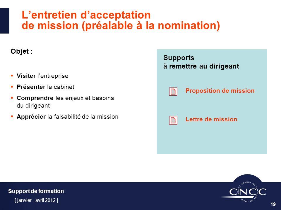 L'entretien d'acceptation de mission (préalable à la nomination)