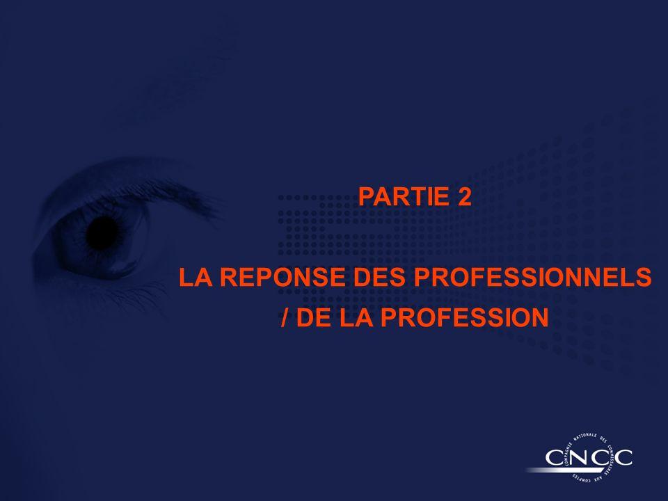 PARTIE 2 LA REPONSE DES PROFESSIONNELS / DE LA PROFESSION