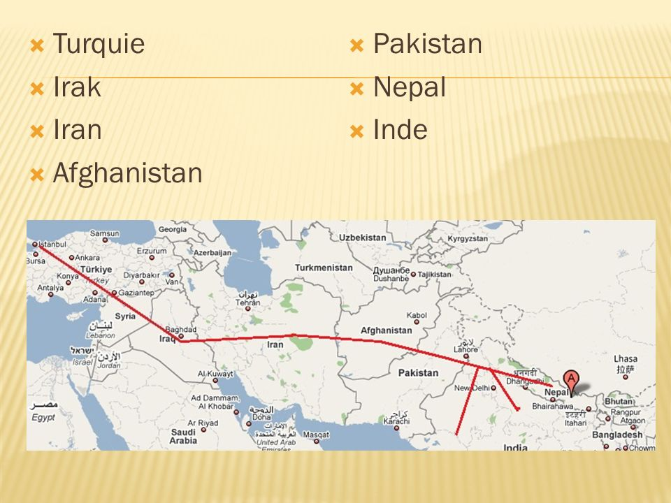 Turquie Irak Iran Afghanistan Pakistan Nepal Inde