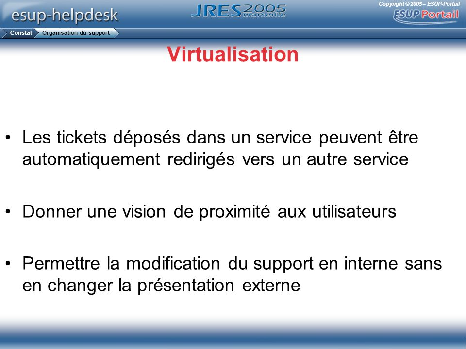 Constat Organisation du support. Virtualisation. Les tickets déposés dans un service peuvent être automatiquement redirigés vers un autre service.