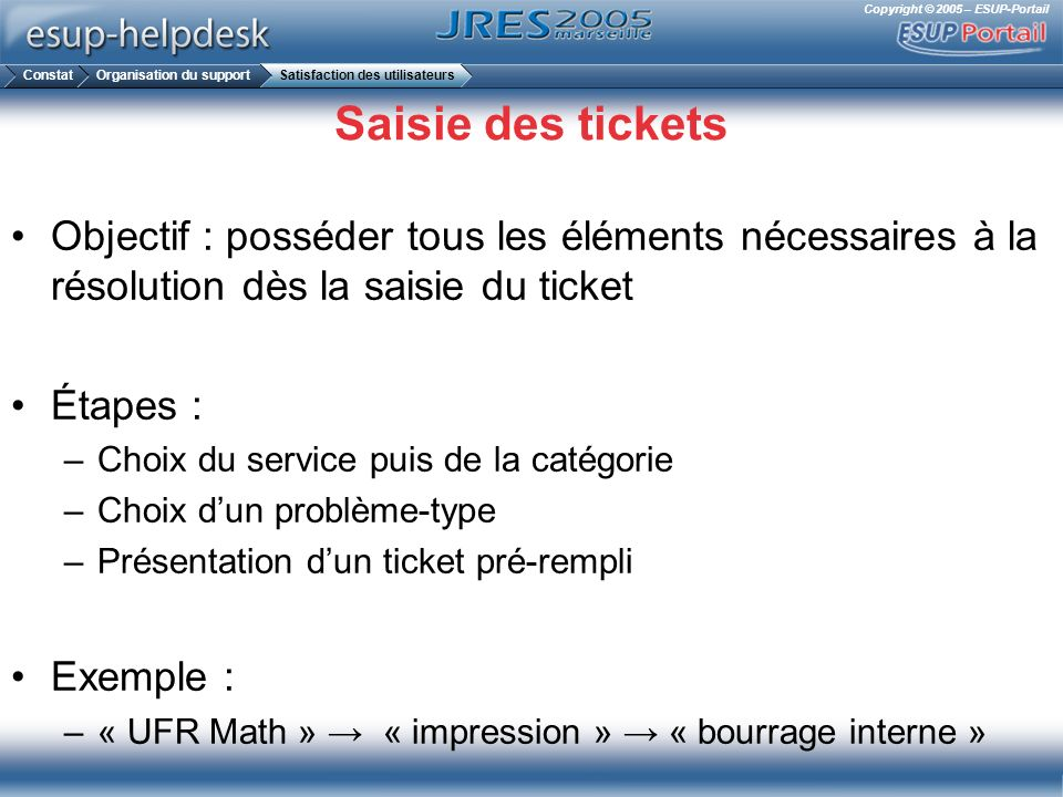 Constat Organisation du support. Satisfaction des utilisateurs. Saisie des tickets.